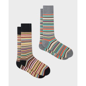 2 Pack Multi/Stripe Sock Black/Grey
