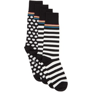 Paul Smith Accessories 2 Pack ODD Spot/Stripe Socks Black/White