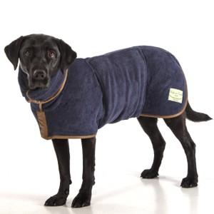 L Dog Drying Coat French  Navy