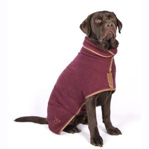 L Dog Drying Coat Burgundy
