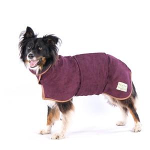 M/L Dog Drying Coat Burgundy