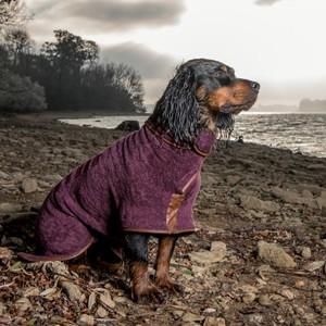 XS Dog Drying Coat Burgundy