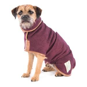 S Dog Drying Coat Burgundy