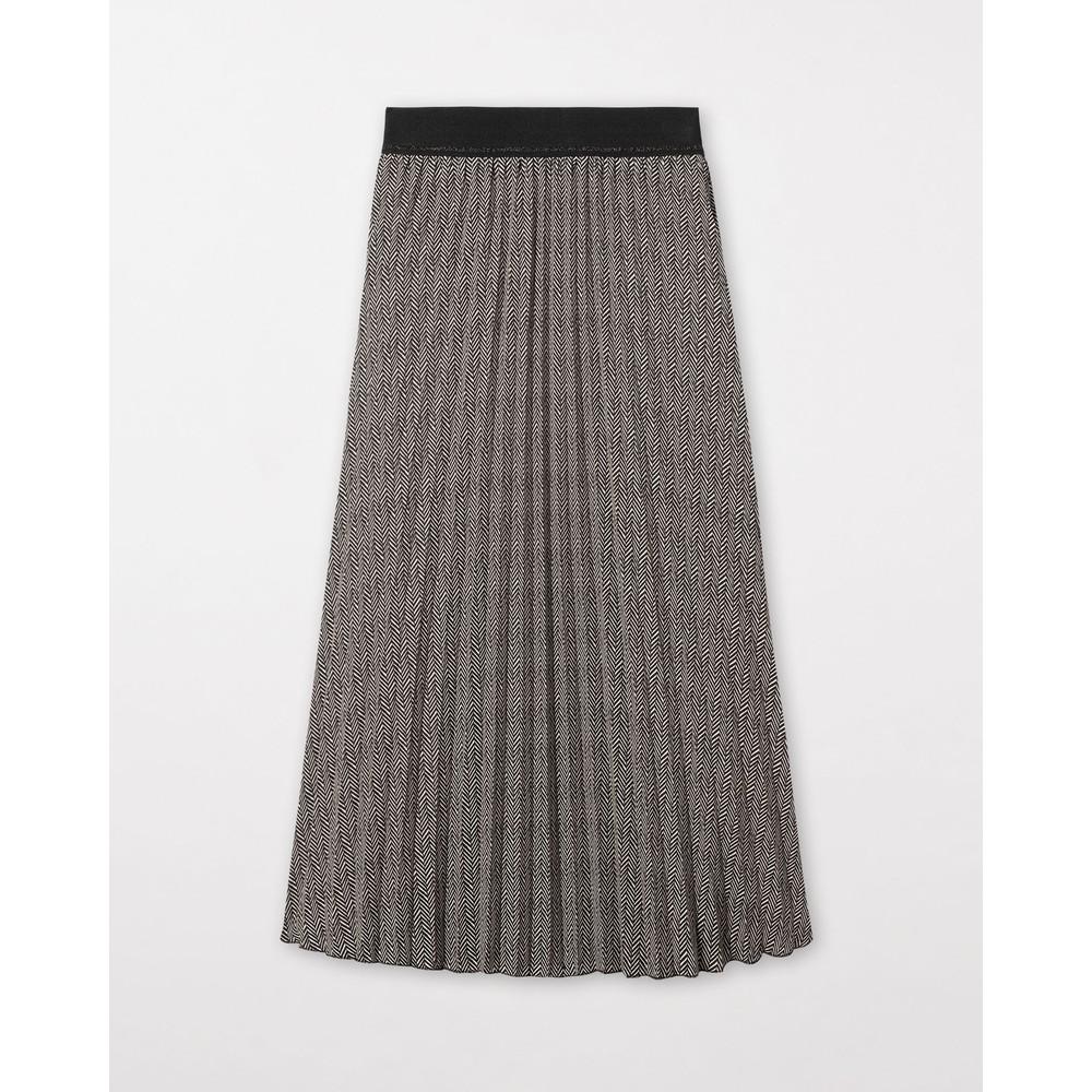 Luisa Cerano Herringbone Pleated Skirt Black/Ivory