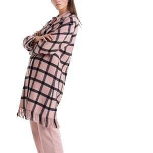 Marc Cain Fringed Trim Check Coat Rosewater