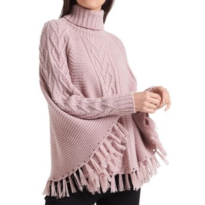 Roll Neck Cable Knit Poncho Rosewater