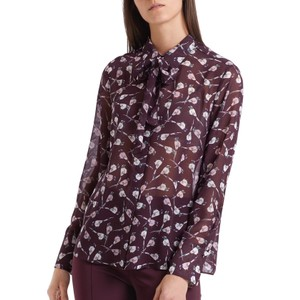 Bird Print Tie Nk Sheer Blouse Wine