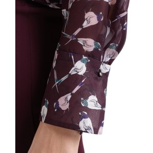 Marc Cain Bird Print Tie Nk Sheer Blouse Wine