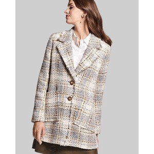Boucle Check Coat Off White/Multi