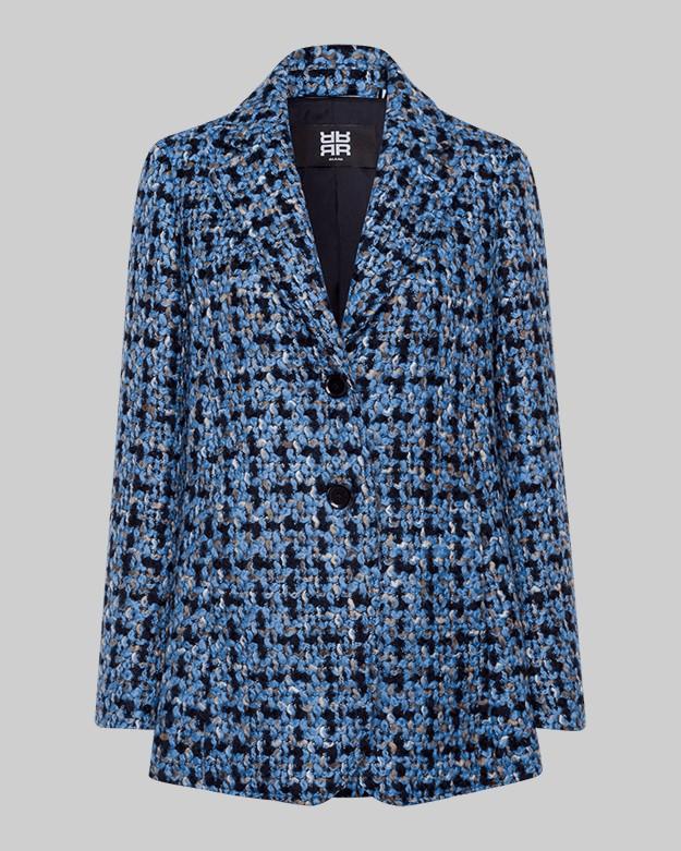 Riani Boucle Single Breasted Coat Azzuro