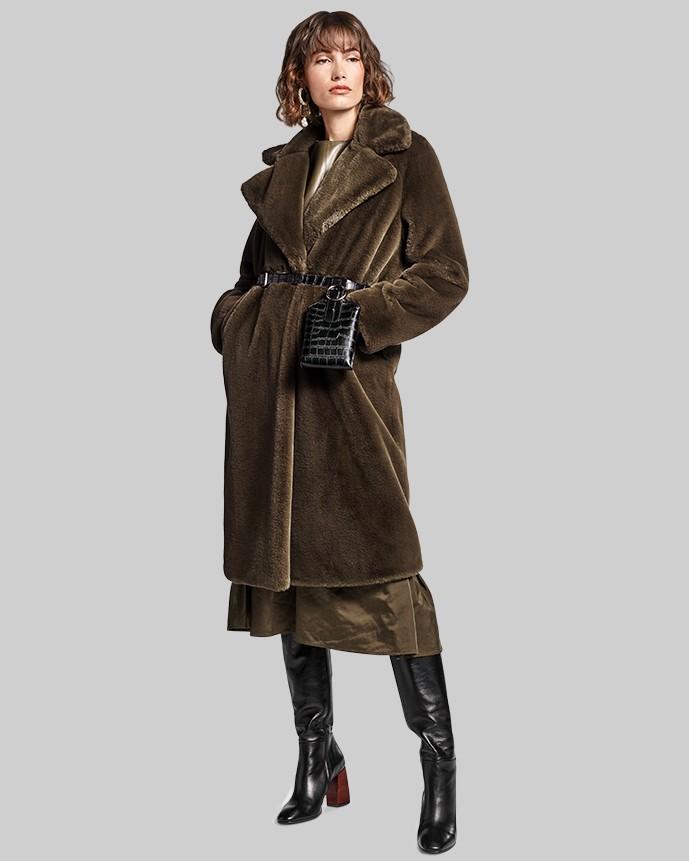 Riani Teddy Faux Fur Long Coat Military