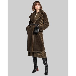 Teddy Faux Fur Long Coat Military