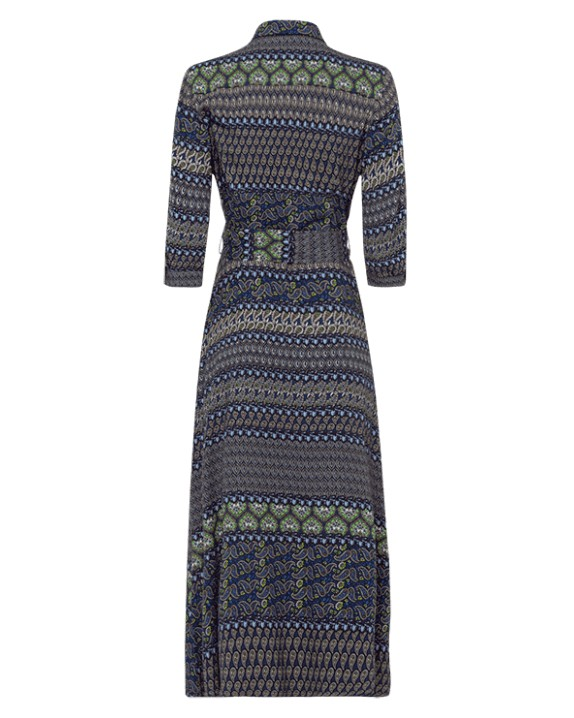 Riani Paisley Print Long Belted Drs Indaco/Green
