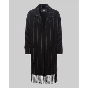 Fringed Stripe Long Open Jkt Black/Grey