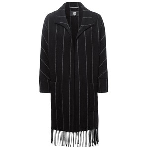 Riani Fringed Stripe Long Open Jkt Black/Grey