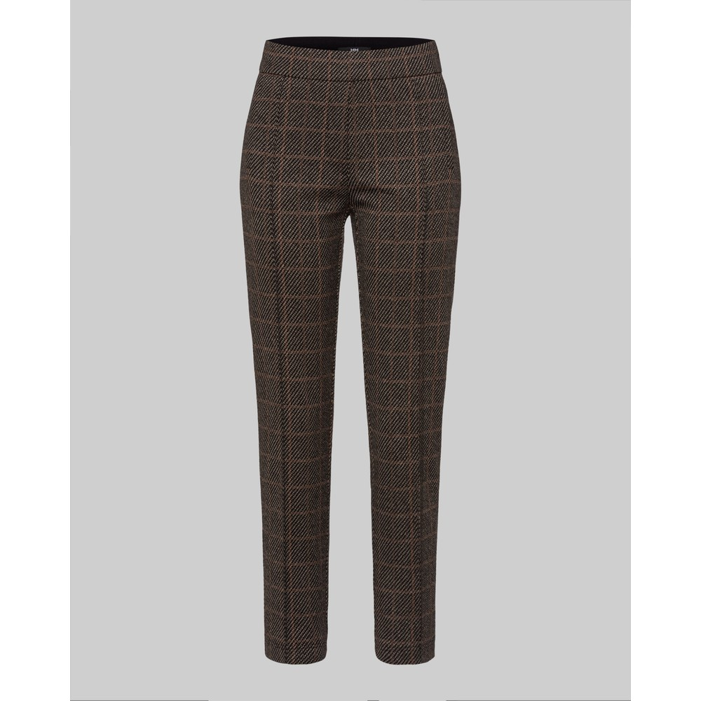 Riani Checked Slim Fit Trousers Castagna