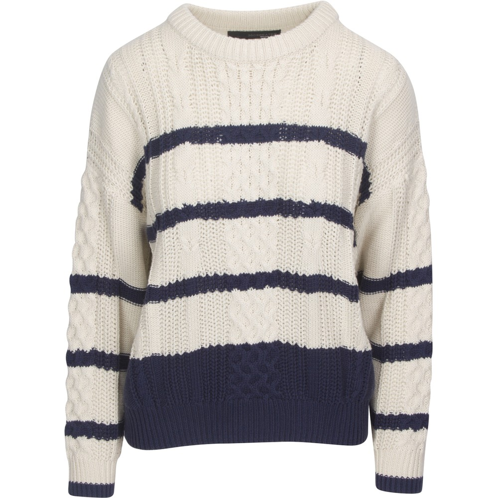 360 Sweater Camella Stripe Cable Knit Cream/Navy