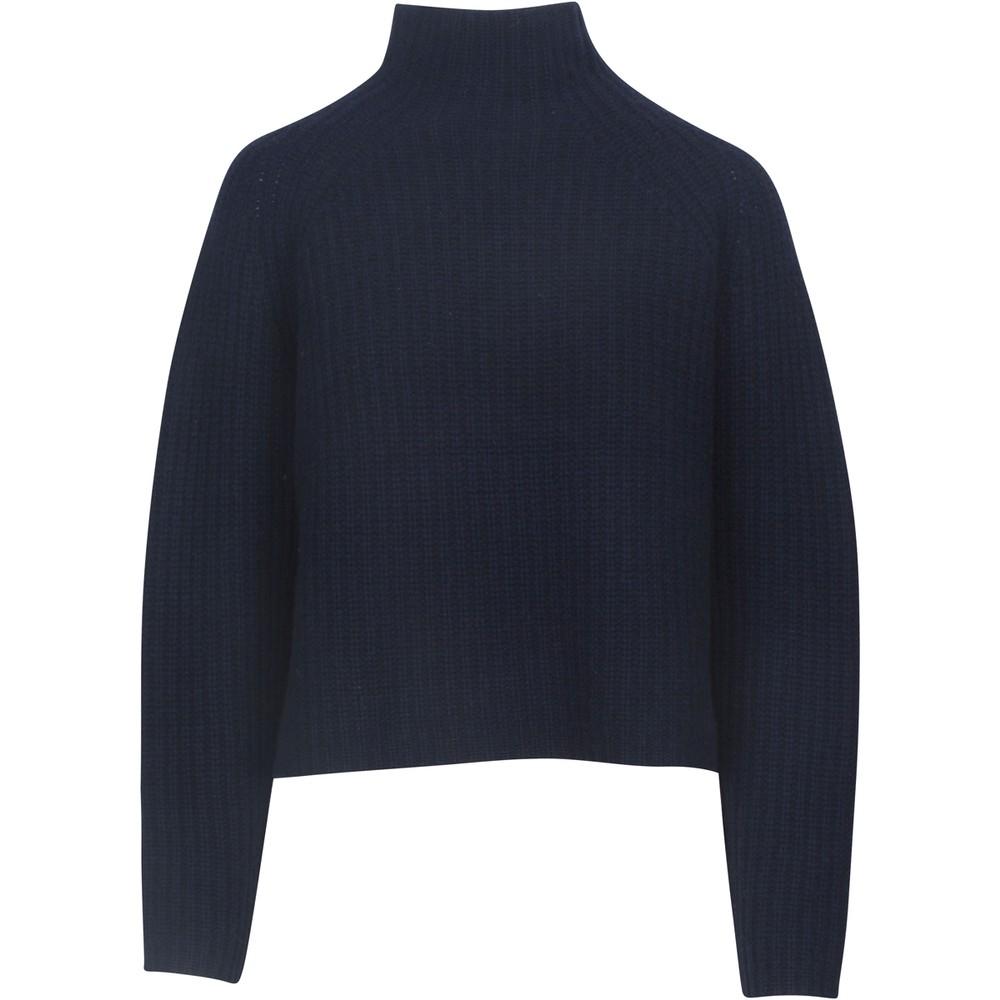 360 Sweater Kayla Hi Nk Crop Rib Knit Navy