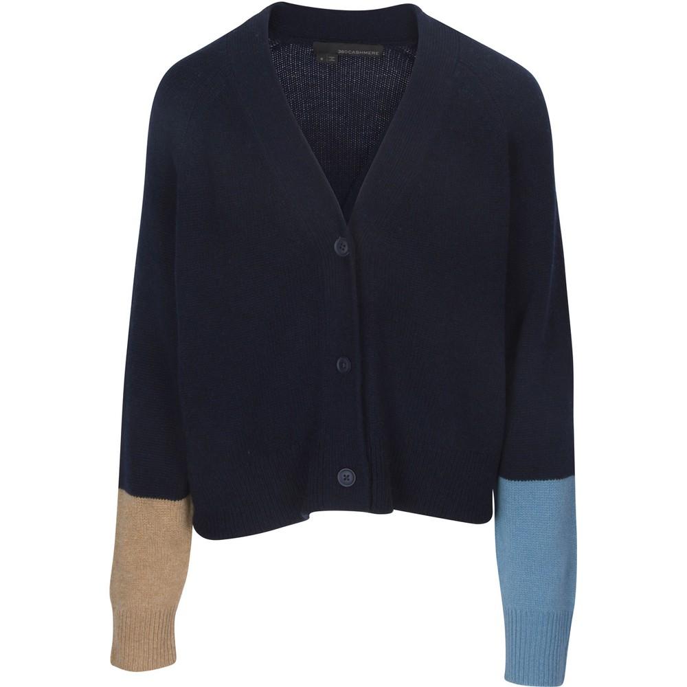 360 Sweater Elsa Contrast Cuff Cardigan Navy/Adriatic/LLama