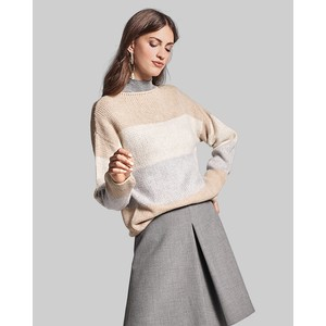 Colour Block Stripe Jumper Caffe Latte Patterned