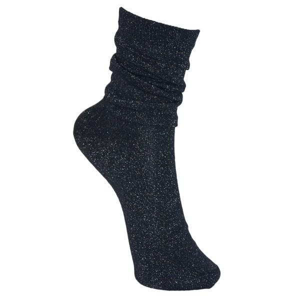 Black Colour Lurex Socks Navy