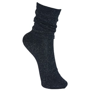 Black Colour Lurex Socks in Navy