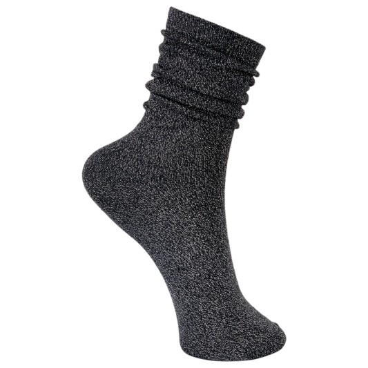 Black Colour Lurex Socks Dark Grey