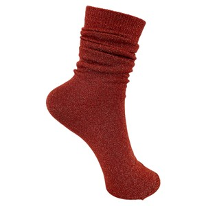 Black Colour Lurex Socks in Paprika
