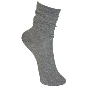 Black Colour Lurex Socks in Silver Grey