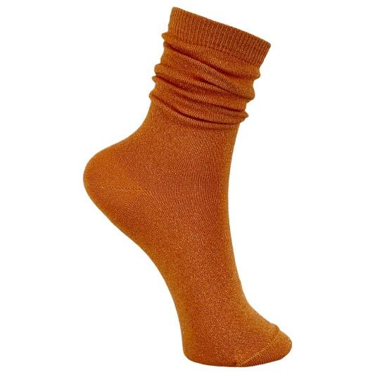 Black Colour Lurex Socks Orange