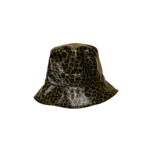 Black Colour Jacy Leo Bucket Hat Army