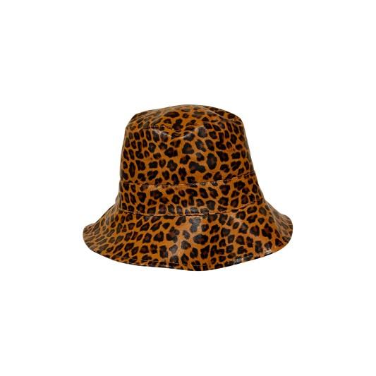 Black Colour Jacy Leo Bucket Hat Camel