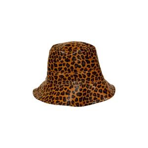 Black Colour Jacy Leo Bucket Hat in Camel