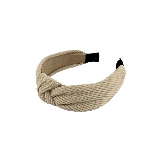 Black Colour Lina Cord Twist Headband Latte