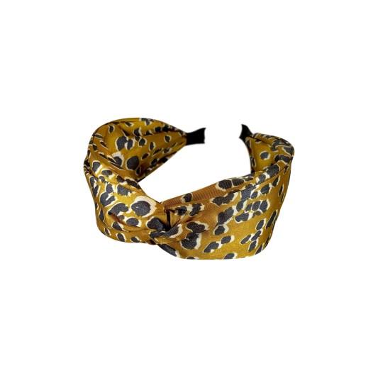 Black Colour Leo Satin Headband Mustard