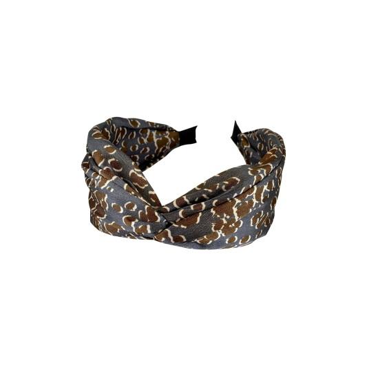 Black Colour Leo Satin Headband Grey