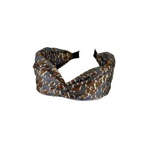 Black Colour Leo Satin Headband in Grey