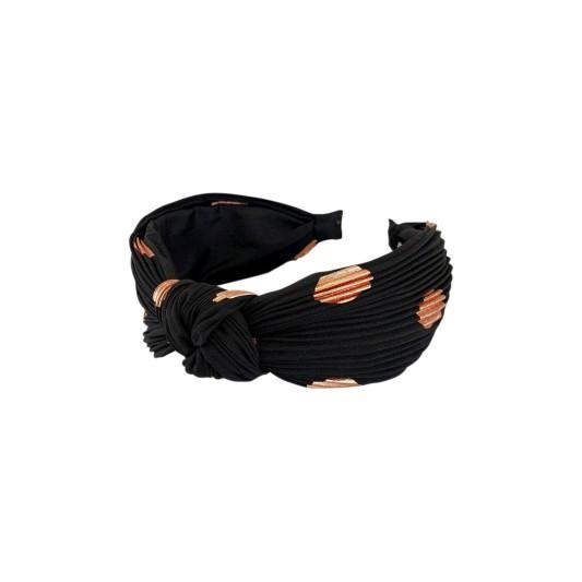 Black Colour Cobber Dot Headband Black/Rose Gold
