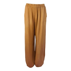Black Colour Zita Balloon Satin Trousers in Camel