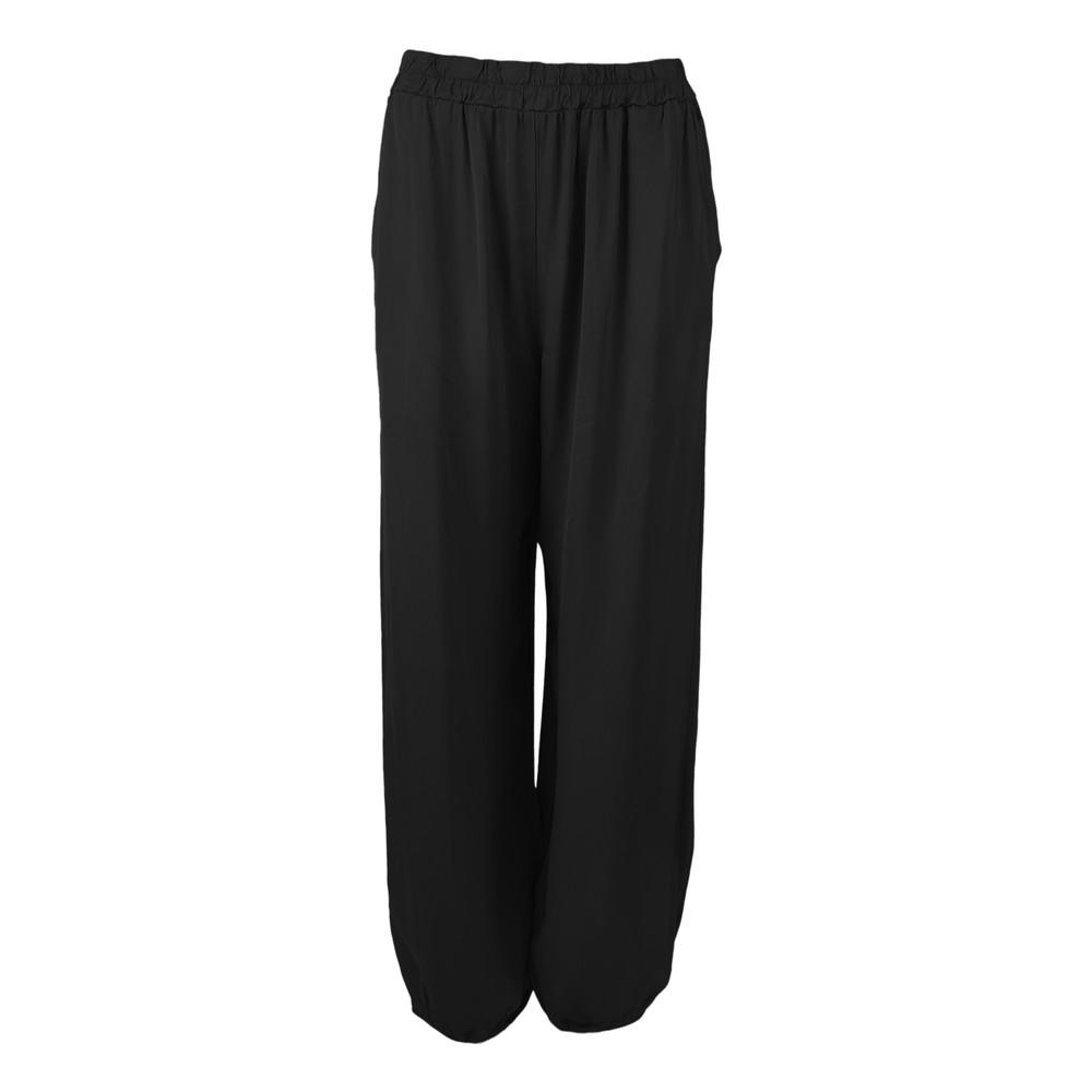 Black Colour Zita Balloon Satin Trousers Black