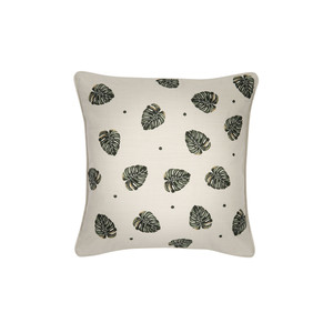 Jungle Leaf Cushion 100% Cotton Natural
