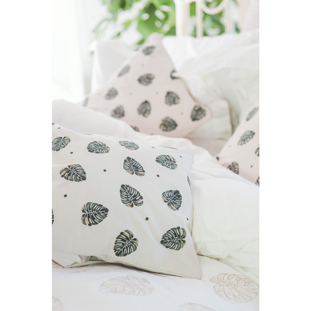 Elizabeth Scarlett Jungle Leaf Cushion 100% Cotton Natural