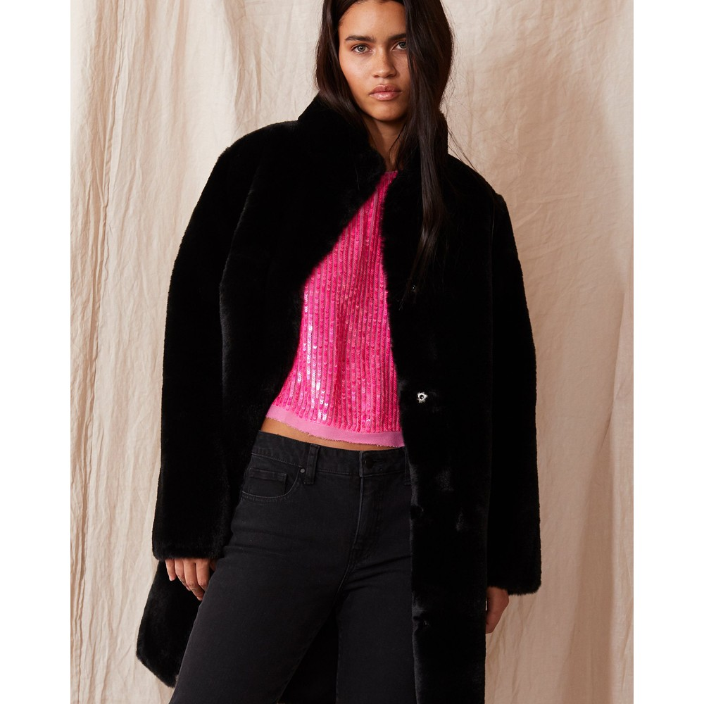 Velvet Mina Faux Fur Coat Black
