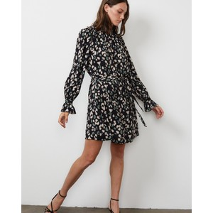 Velvet Gertrude L/S Belted Dress Snow Leopard