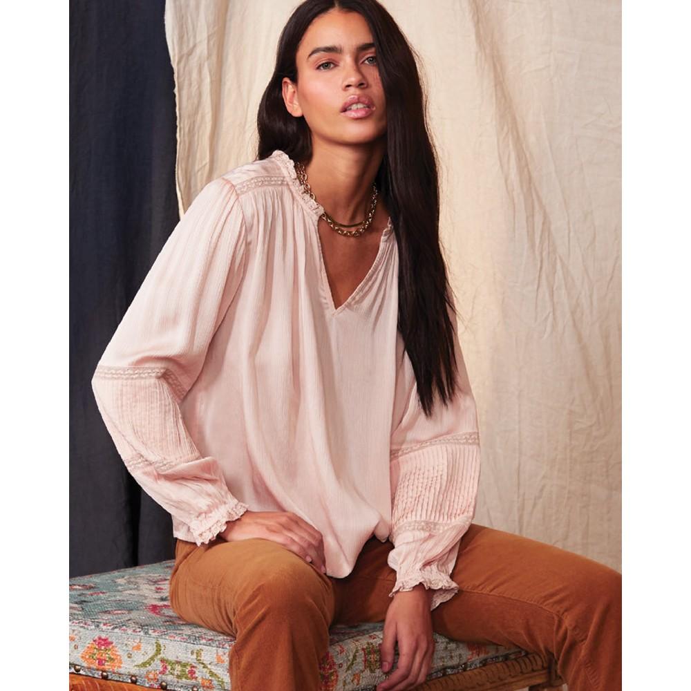 Velvet Kimmie Pintruck Bln Slvs Top Blush