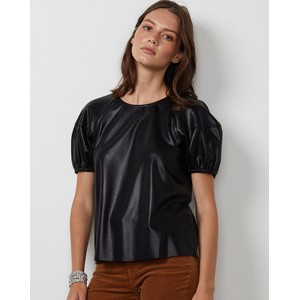 Foley Faux Leather Top Black
