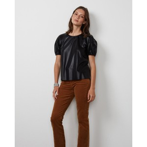 Velvet Foley Faux Leather Top Black