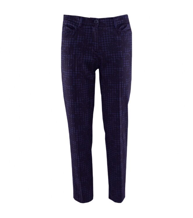 Brax Maron Floral Gingham Trousers Black/Navy