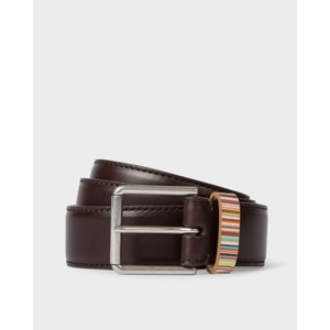 Keeper Sig/Stripe Leather Belt Brown