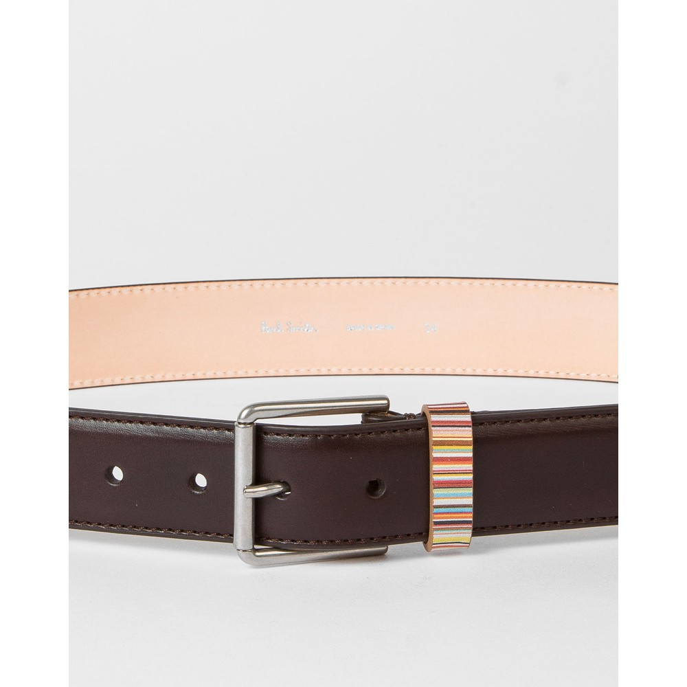 Paul Smith Accessories Keeper Sig/Stripe Leather Belt Brown